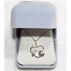 Sterling Silver Rose Heart Shaped Pendant - Retail $100