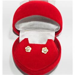 14KTGold Freshwater Pearl w/ Mother of Pearl Flower Jacket 2-in-1 Style Earrings - Retail $200
