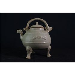 Celedon-Glazed Kettle with the opening in a Dargon Shape.