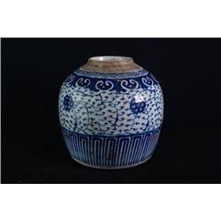 "Blue-and-White ""Flora"" Jar"