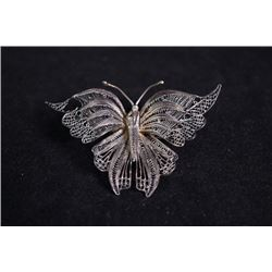 "Early 20th Century Silver Lace ""Butterfly"" Brooch"