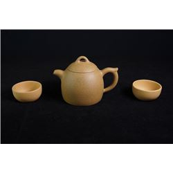 """Duan"" Clay Qinquan Yixing Teapot with Two ""Duan"" Clay Cups"