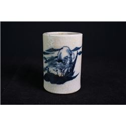 19th century, a blue-and-white brush pot.
