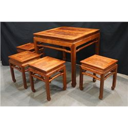 Huanghuali Square Table with four Stools