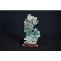 Green Quartz Jade Figure of Taoism with Base.