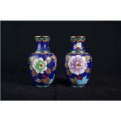 "A Pair of Two Small Cloisonne Enamel ""Floral and Bird"" Meiping"