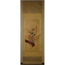 "Jiruo Painting, ""Gui Fei Zui Jiu"", ink and color on paper, hanging scroll."