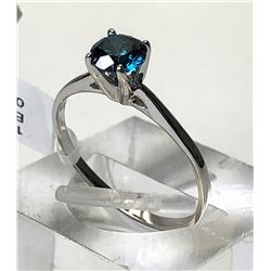 10kt WHITE GOLD BLUE DIAMOND (0.56ct) RING