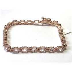 SILVER ROSE GOLD PLATED MORGANITE (10ct) BRACELET