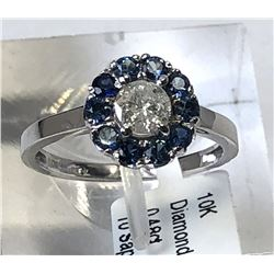 10kt. WHITE GOLD DIAMOND (0.48ct) SAPPHIRE RING