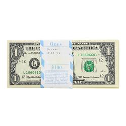 Pack of (100) Consecutive 1999 $1 Federal Reserve STAR Notes San Francisco
