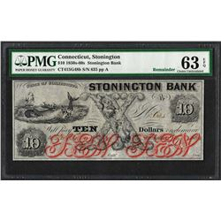 1850s-60s $10 Stonington Bank Connecticut Obsolete Note PMG Choice Uncirculated