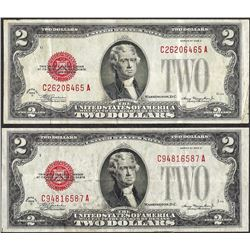 Lot of (2) 1928D $2 Legal Tender Notes
