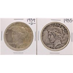 Lot of 1934-D & 1935 $1 Peace Silver Dollar Coins