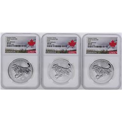 Lot of (3) 2018 $5 Canada Predator Series Wolf Silver Coin NGC MS69