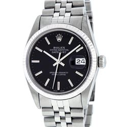 Rolex Men's Stainless Steel Black Index 36mm Datejust Wristwatch