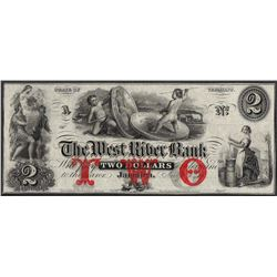 1800's $2 West River Bank Vermont Obsolete Note