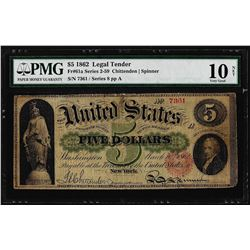 1862 $5 Legal Tender Note Fr.61a PMG Very Good 10 Net