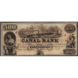 1800's $500 Canal Bank New Orleans Obsolete Note Tear Middle Margin