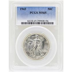 1943 Walking Liberty Half Dollar Coin PCGS MS65