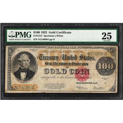 1922 $100 Gold Certificate Note Fr.1215 PMG Very Fine 25
