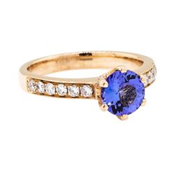14KT Rose Gold 1.18 ctw Tanzanite and Diamond Ring