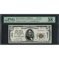 1929 $5 National Currency Note San Francisco, CA CH# 13044 PMG Choice About Unc.