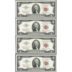 Lot of (4) Consecutive 1963 $2 Legal Tender Notes