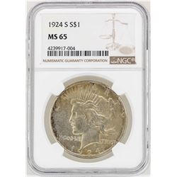 1924-S $1 Peace Silver Dollar Coin NGC MS65