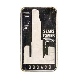 The First National Bank of Chicago Sears Tower 1 oz .999 Fine Silver Art Bar