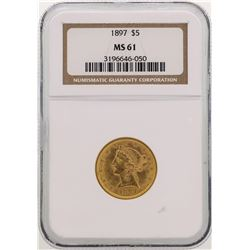1897 $5 Liberty Head Half Eagle Gold Coin NGC MS61