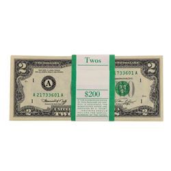 Pack of (100) Consecutive 1976 $2 Federal Reserve Notes Boston