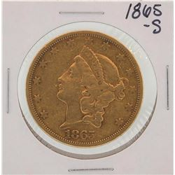 1865-S $20 Liberty Head Double Eagle Gold Coin