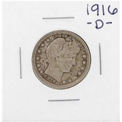 1916-D Barber Quarter Coin