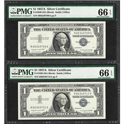 Lot of (2) 1957A $1 Silver Certificate Notes Fr.1620 PMG Gem Uncirculated 66EPQ