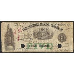 1864 $5 The Central Mining Company Eagle Harbor, Michigan Obsolete Note