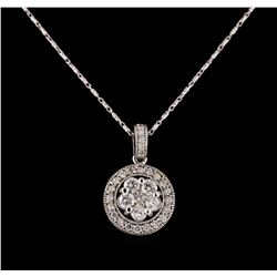 14KT White Gold 1.07 ctw Diamond Pendant With Chain