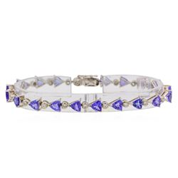 8.96 ctw Tanzanite and Diamond Bracelet - 18KT White Gold