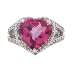 7 ctw Pink Topaz And Diamond Ring - 14KT White Gold