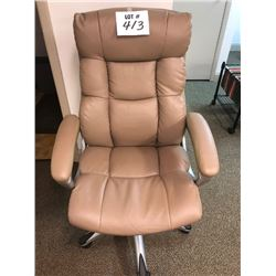 Tan Leather Executive Office Chair, Nice Condition