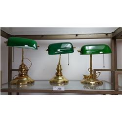 3 Reproduction Cased Glass Bankers Lamps, Emerald & White Shades