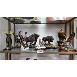 9 Resin Very Detailed Animal Figures: 2 Moose, 2 Buffalo, Wolf & 4 Eagles