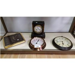 1 Mantel Clock & 3 Various Wall Clocks