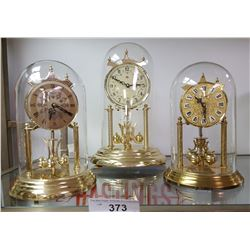 3 Glass Dome Mantel Clocks