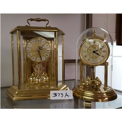 1 Glass Dome Mantel Clock & 1 Hexagon Brass & Glass Mantel Clock