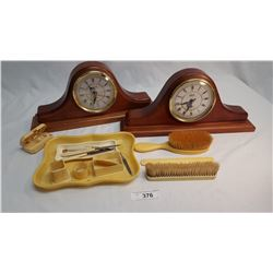 2 Wooden Mantel Clocks & 14 Pieces of French Ivory