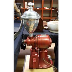 NO SHIPPING. International 110 Volt Electric Coffee Grinder, 1940's Lidded Spun Aluminium Hopper, Or