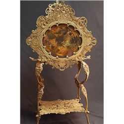 NO SHIPPING. Fabulous French Canterbury Stand w/ Original Oil Paint of Cherubs & Woman, Intact Wonde