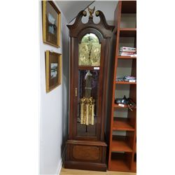 NO SHIPPING. Grandfather Clock w/ Brass Face, Pendulum Weights, 3 Wights on Pulley, Fancy Pendulum,
