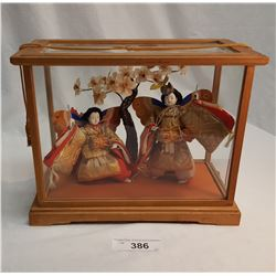 2 Asian Dolls w/ Butterfly Wings & Drums in Wooden & Glass Case